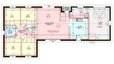 Maisons plain pied 4 chambres de 107 m² construite par Demeures Familiales Floor Plan 4 Bedroom, Montpellier, Garden Planning, Habitats, My House, House Plans, Sweet Home, Construction, New Homes
