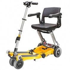Free Rider USA  Luggie Elite  Compact Lightweight Foldable Scooter  4Wheel  Yellow ** View the item in details by clicking the image