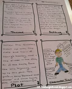 Task Card recording sheet using story elements to have the students respond to any piece of fiction literature