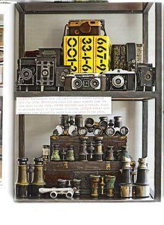 vintage cameras -  I have a set of binoculars that look like a pair on this shelf too!