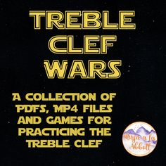 Treble Clef Wars {A Bundled Set of MP4s, PDFs and Games for treble clef practice