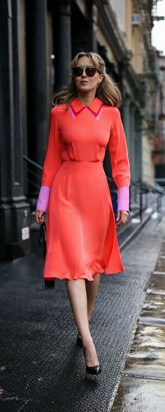 neon coral pink collared silk midi dress with lavender and fuchsia accents, classic black pumps {roksanda ilincic, ysl}