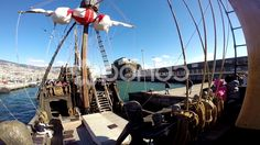 Santa Maria de Colombo deck panning Funchal harbor - Stock Footage | by Beckhusen