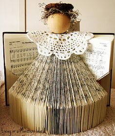 holiday, books, idea, hymnal angel, hymnal christma, craft projects, christmas angels, christma angel, book page crafts