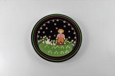 Handmade in Switzerland, Burkart Wall Plate, Happy Child with Ducks