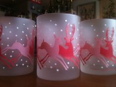 4 Georges Briard Christmas Reindeer Glasses