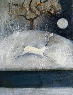 Catherine Hyde, Stag and snow (and the Moon! Don't forget the Moon!)