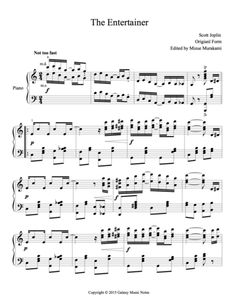 """Level 5 (advanced) Ragtime Piano sheet music """"The Entertainer"""" by Scott Joplin, close to the original but without most octave notes and tied notes for players with small hands. Violin Lessons, Singing Lessons, Singing Tips, Music Lessons, Popular Piano Sheet Music, Piano Music, Digital Piano, Level 5, Music Covers"""