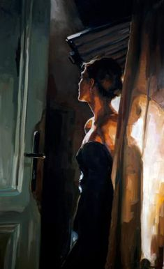 """Der Blick"" - © Edward B. Gordon, oil on canvas, 2013 {figurative art female doorway standing woman décolletage painting} <3 Emotive !!"