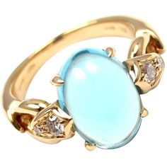 Preowned Bulgari Blue Topaz Diamond Gold Ring ($2,950) ❤ liked on Polyvore featuring jewelry, rings, blue, cocktail rings, gold ring, diamond rings, gold diamond rings and yellow gold rings