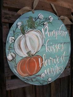 Fall Canvas Painting, Autumn Painting, Autumn Art, Fall Paintings, Sign Painting, Autumn Crafts, Holiday Crafts, Harvest Crafts, Fall Door Hangers