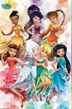 Tinkerbell and friends in new outfits. Background to take pictures?