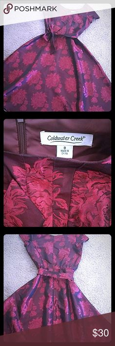 """Coldwater Creek Satiny Red Floral Dress ELEGANT DRESS!⚘  You WILL get compliments!!! 👍😉  Dress with Wide skirt,  short sleeved satin look with wide sash belt.  Zips in back. 🔥🔥🔥 Great for special occasions,  weddings,  formals.  Measures: 19"""" arm pit to pit & 47"""" from shoulder to hem. EUC Coldwater Creek Dresses Midi"""