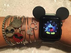 When your obsession for Mickey hits a new level. 😍🙈💎🐭⌚️❤️✨😁 #waltdisneyworld #mickeymouse #applewatch #alexandani •bangles are Alex and Ani •crystal bracelets were purchased at WDW they are available at multiple locations, most recently I saw them at World of Disney at Disney Springs •watch cover is from eBay