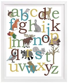 Woodland alphabet poster. Features a deer, fox, moose, squirrel and more.  Woodland nursery art.