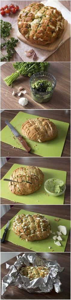 Pain au beurre d'ail persil et mozzarella (DIY) : technique étape en photos pas à pas en images
