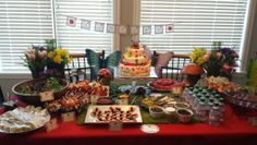 Ladybug party food set up