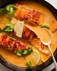 An incredible Poached Salmon with a Coconut Lime Sauce that's quick and easy to make! Tastes like a Thai coconut curry – except it's way faster to make The post Poached Salmon in Coconut Lime Sauce appeared first on Garden ideas - Health and fitness Salmon Recipes, Fish Recipes, Seafood Recipes, Dinner Recipes, Cooking Recipes, Healthy Recipes, Sauce Recipes, Cheap Recipes, Dinner Ideas