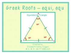 "This multisensory resource focuses on the science Greek roots, ""equi,"" and ""equ."" This is a great resource for students learning geometry. The knowledge gained from understanding the meaning of equi, equ brings students to ""a higher understanding,"" which then helps make a stronger connection when learning about geometric shapes that are equilateral."
