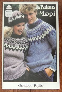 Sweater Knitting Patterns Cardigan Pullover Hat & Mitts/ Patons Outdoor Knits 444/ Men Women Child Fair Isle Graph Ski by RedWickerBasket on Etsy