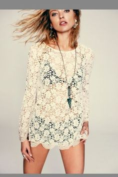 Free People Lace Tunic is perfect for Layering!- Check it out at Vice N Virtue Style. {vicenvirtuestyle.com}