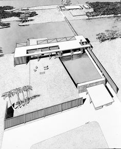 Drawing of Finney Guest House, Paul Rudolph School Architecture, Residential Architecture, Sarasota School, Paul Rudolph, Paul Design, Architects Journal, Moholy Nagy, Building Costs, Heritage Foundation