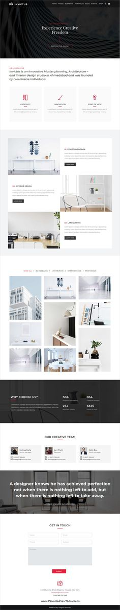 Invictus is clean and modern design responsive multipurpose WordPress #themes for #architect #studio website with 50+ niche homepage layouts and 250 #UI blocks to live preview & download click on Visit
