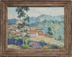 Curated Gallery French Countryside Landscape, Impressionist-style landscape painting with houses. Oil on board, circa Unsigned. Displayed in a brownwood frame, hanging wire included. Image size, x overall x Countryside Landscape, French Countryside, French Paintings, Art Paintings, Living Room Paint, Pattern Art, Impressionist, Vintage Furniture, Landscape Paintings