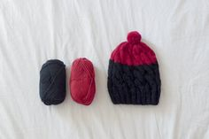 Black Beanie dipped in Red by sufragista on Etsy