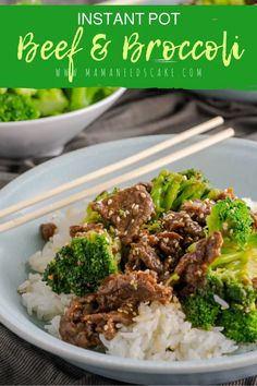 "Instant pot beef, broccoli, and rice meal made in the Instant Pot. Using ""pot in pot"", the beef and rice finish at the same time - in less than 30 minutes! Rice Recipes, Beef Recipes, Dinner Recipes, Cooking Recipes, Easy Recipes, Dinner Ideas, Family Recipes, Lunch Recipes, Asian Recipes"