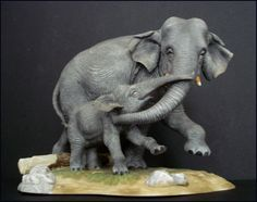 LENOX Elephants of Asia - Wildlife of the Seven Continents Fine Porcelain Figurine of Mother and Baby Calf by SusansShopSelections on Etsy