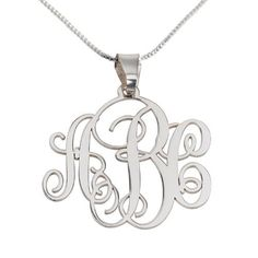 Silver Monogram Necklace 3 initials, silver box chain, Monogram pendant, initial necklace  Price : $39.95 http://www.namenecklaceworld.com/Monogram-Necklace-initials-pendant-necklace/dp/B00KLBDZKU
