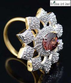 Krishna Art Jewels Mesmerising Floral Design AD Ring
