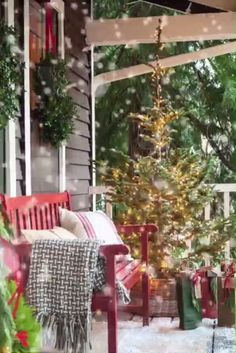 55 Magical Christmas Front Porch Ideas Decked With Holiday Style Christmas Scenes, Magical Christmas, Merry Little Christmas, Noel Christmas, Christmas Music, Country Christmas, Beautiful Christmas, Winter Christmas, Christmas Front Porches