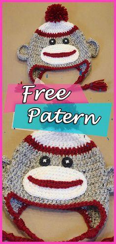 5d9bee3f310 Crochet Sock Monkey Hat Free Pattern – Newboarn Baby and Kids