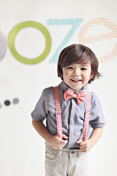 Orange and Pink Striped Bow Tie and Suspenders for little boys, ring bearer outfit, $40.00, via Etsy.
