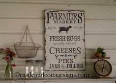 "Farmhouse vintage Farmers Market 24"" x 16"" sign.  A unique sign for your farmhouse kitchen!  Very distressed, chipped paint and faded charcoal lettering. by castleandcottage on Etsy, $58.00"