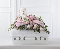 Pink flower baby casket spray for child funeral Casket Flowers, Grave Flowers, Cemetery Flowers, Funeral Flowers, Funeral Floral Arrangements, Flower Arrangements, Funeral Caskets, Funeral Sprays, Mini Carnations