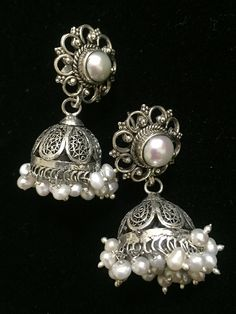 Pearl Silver Jhumkis