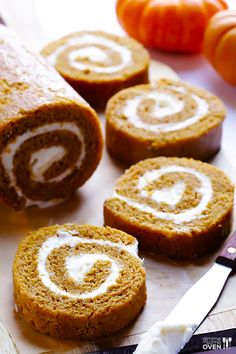 Homemade Pumpkin Roll -- simple to make, and filled with a delicious cream cheese icing | gimmesomeoven.com #dessert