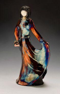 """Dancer"" raku-fired figurine.  This fiery metallic colouring is my absolute favorite feature of raku firing."