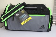 3ed9d2f5ea ADIDAS Climaproof Menace Duffel Gym bag Insulated Cooler pocket Grey Green