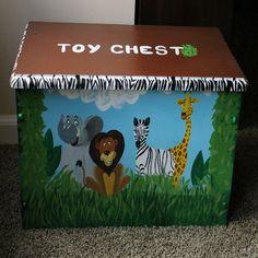 Jungle Animals and Safari Themed Toy Bench, Toy Box, Treasure Chest via Etsy Jungle Safari, Jungle Theme, Jungle Animals, Painted Trunk, Hand Painted, Trunks And Chests, Treasure Chest, Toy Boxes, Baby Ideas