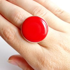 Women's Red Statement Ring Round Ring Resin Adjustable by Pilboxx