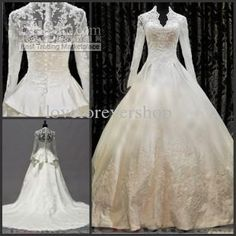 Wholesale Wedding Dresses - Buy 2013 High Neck Long Sleeve Zippered Button Beaded Appliques Ruffles Satin Floor Length Chapel Train Cathedral A-Line Muslim Wedding Dresses, $182.95 | DHgate