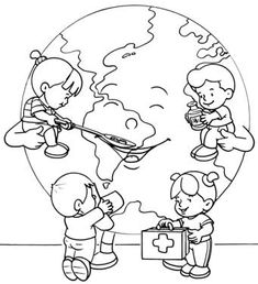imagenes-para-pintar-dia-mundial-de-la-tierra-6 | Profe Yano Earth Day Crafts, World Crafts, Bible Coloring Pages, Coloring Books, Colouring, Drawing Competition, Learn Arabic Alphabet, Drawing School, Drawing Projects
