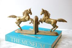Brass Horse Bookends - Vintage Brass Horse Bookends - Equestrian Decor - Mid…