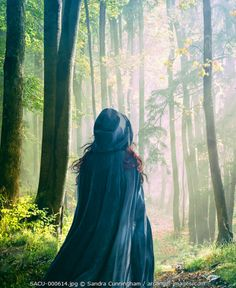 www.arcangel.com - woman-with-cape-walking-in-a-forest