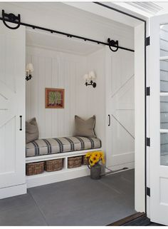 Barn doors and a reading nook