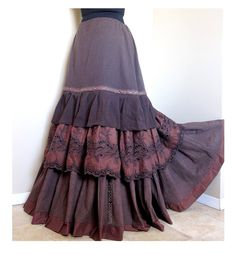 Chocolate Symphony  - One-of-a-kind, layered bohemian skirt.    • Simple classic elegance. This one of a kind, layered boho skirt is made from cotton fabrics in rich browns - crinkle cottons in the first two tiers, as well as a lovely floral eyelet and deep brown mottled cotton fabrics. [The colors in this skirt are even warmer/richer in person than they appear in the pictures.]  • The first tier is lined on inside with a soft cotton fabric, and is edged with a lovely brown/gold cro...